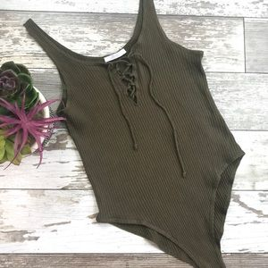 ZARA   TRAFALUC   Olive Green Lace-Up Bodysuit Sm